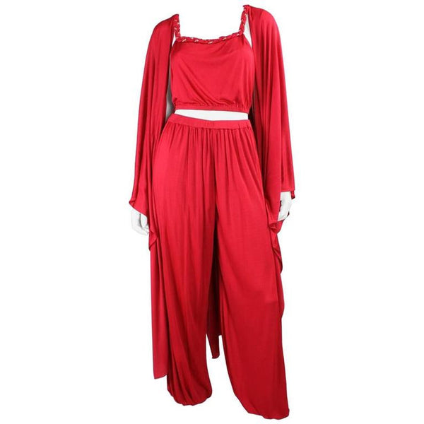 Vintage 1970's Holly's Harp Red Matte Jersey Ensemble