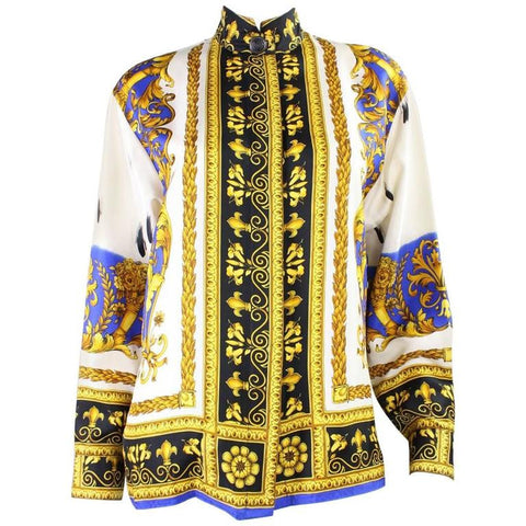Vintage 1990's Gianni Versace Silk Blouse with Baroque Print