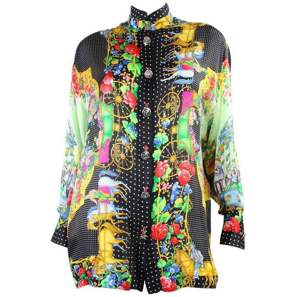 Vintage 1990's Gianni Versace Silk Charmeuse Blouse