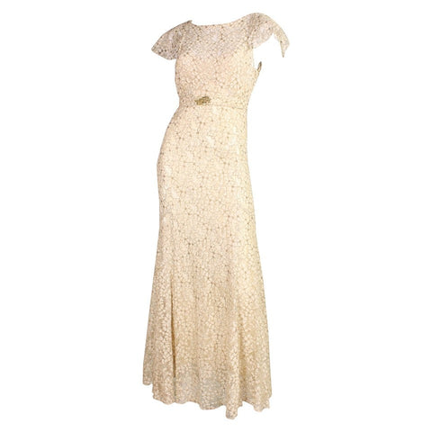 1930's Gown Lamé and Lace Ivory Bias-Cut Vintage - regenerationvintageclothing