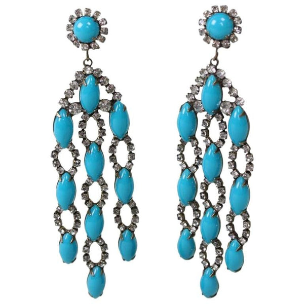 1960's Kenneth Jay Lane Faux Turquoise Dangle Earrings