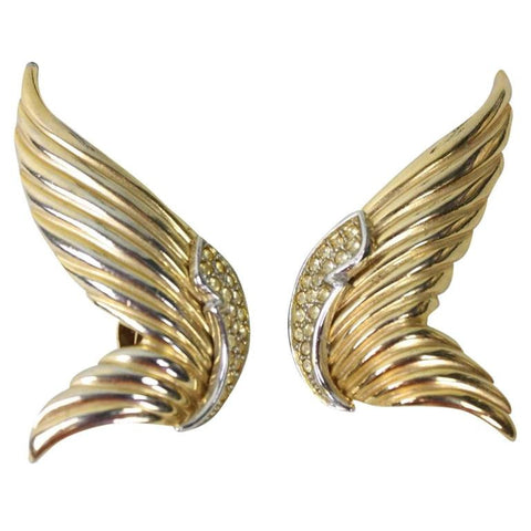 Butler & Wilson Earrings 1980's Gold-Toned Wing Vintage - regenerationvintageclothing
