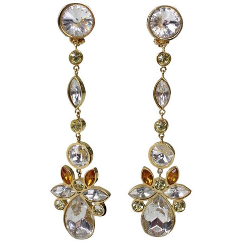 Valentino Earrings Long Dangle Rhinestone Vintage - regenerationvintageclothing