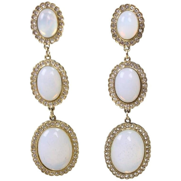 Butler & Wilson Rhinestone & Faux Opal Earrings