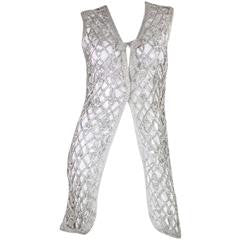 Vintage 1960's Space Age Metallic Silver Long Vest