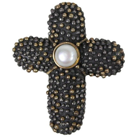 Anne Pratt Brooch18k & Sterling Cross  Vintage - regenerationvintageclothing