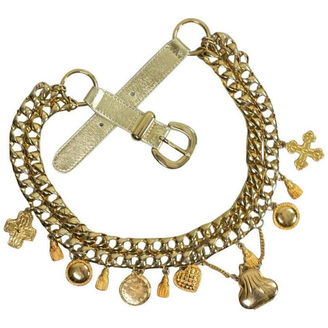 Escada Belt 1990's Gold-Toned Charm Vintage - regenerationvintageclothing