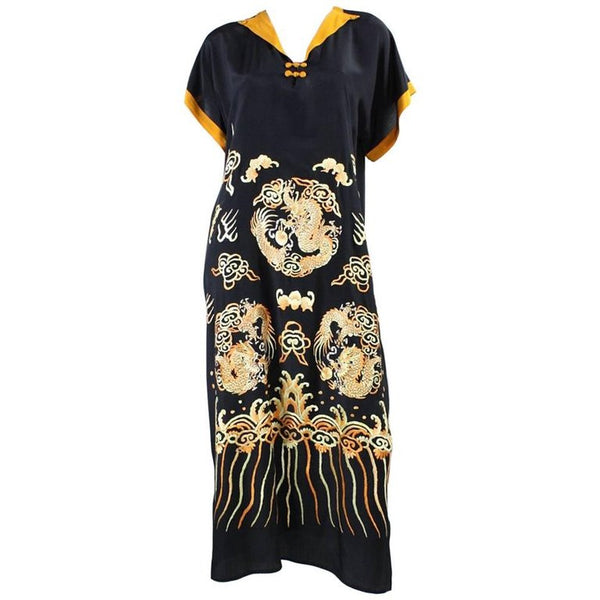 1930's Dress Embroidered Silk with Asian Motif Vintage - regenerationvintageclothing