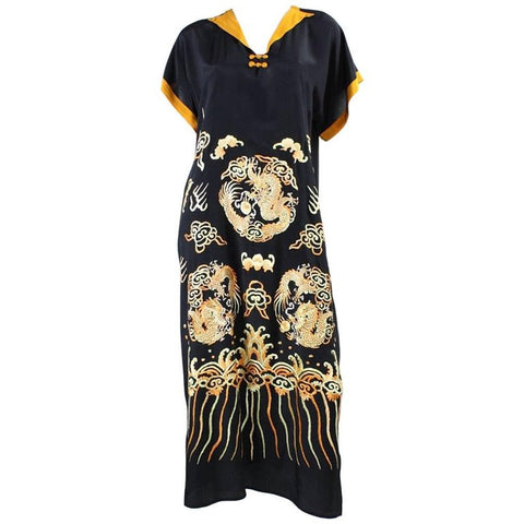 Vintage 1930's Embroidered Silk Dress with Asian Motif