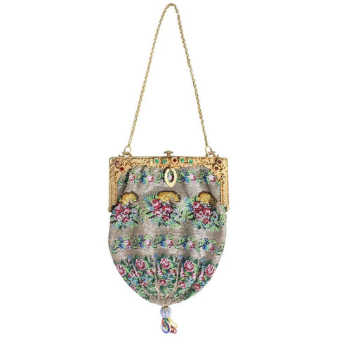 1920's Handbag Beaded with Gold-Toned Frame Vintage - regenerationvintageclothing
