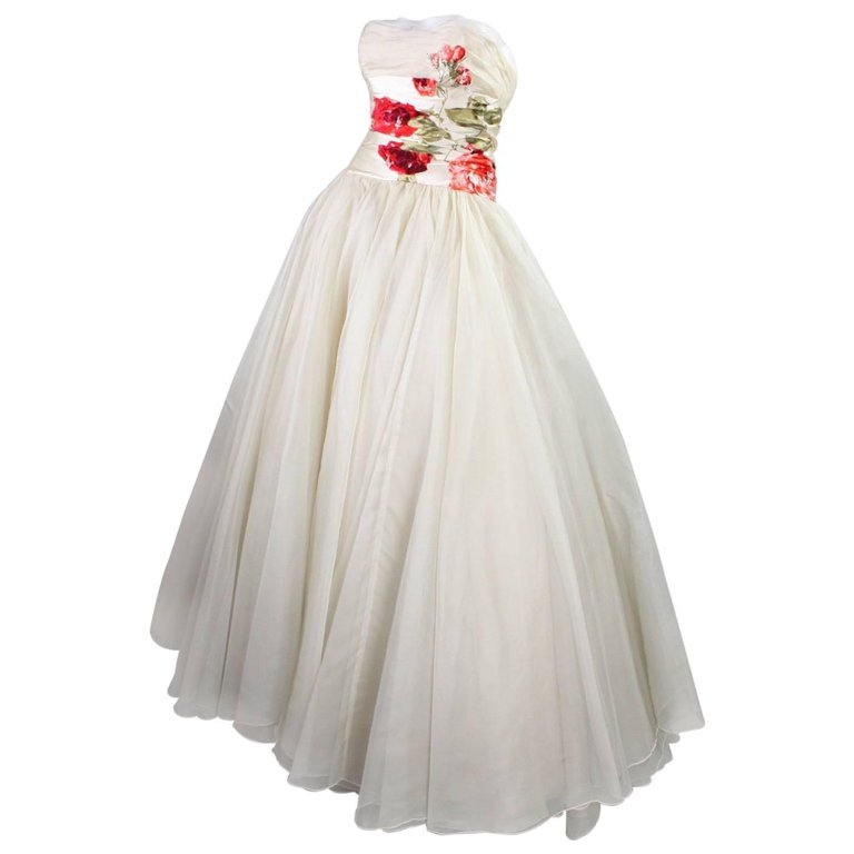 Vintage 1950s Organza Ball Gown With Floral Detailing