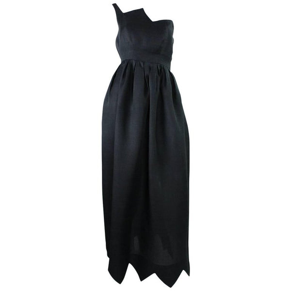 Christian Dior Gown Black 1960's with Zigzag Detail Vintage - regenerationvintageclothing