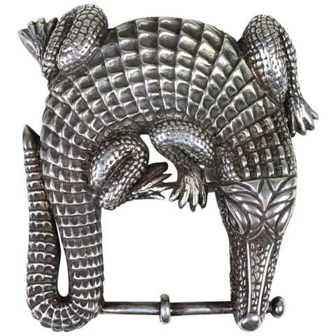 Kieselstein-Cord Belt Buckle Sterling Silver Alligator Vintage - regenerationvintageclothing