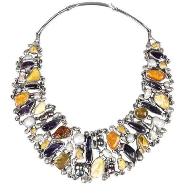 Jan Pomianowski Necklace Amber & Amethyst Sterling Silver Bib Vintage