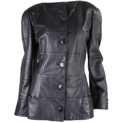 Krizia Jacket 1980's Black Leather Vintage - regenerationvintageclothing