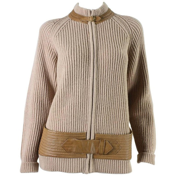 Gucci Cardigan 1970's with Leather Detailing Vintage - regenerationvintageclothing