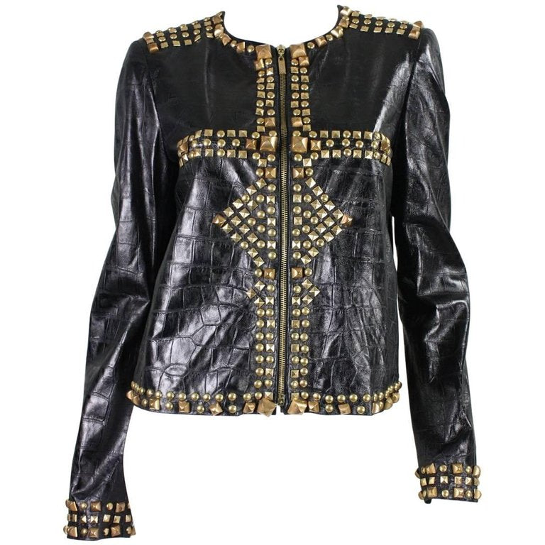 Roberto Cavalli Jacket Studded and Embossed Leather Vintage - regenerationvintageclothing
