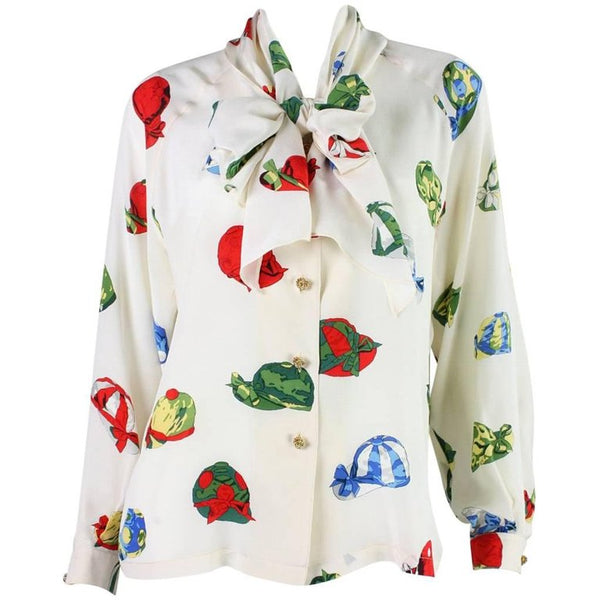 Hermès Blouse Silk with Jockey Cap Print Vintage - regenerationvintageclothing