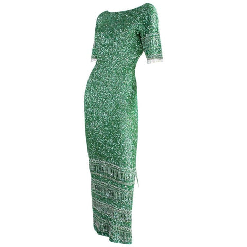 Gene Shelly Gown Green Sequined Vintage - regenerationvintageclothing