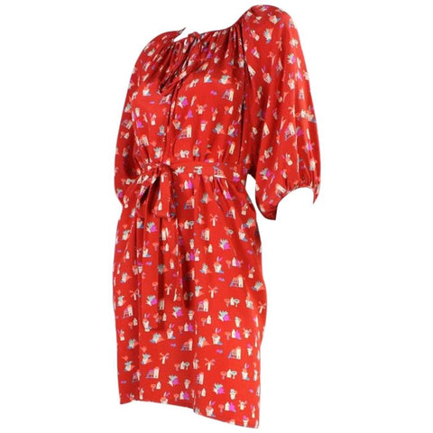 Chloe Dress 1970's Silk with Novelty Print Vintage - regenerationvintageclothing