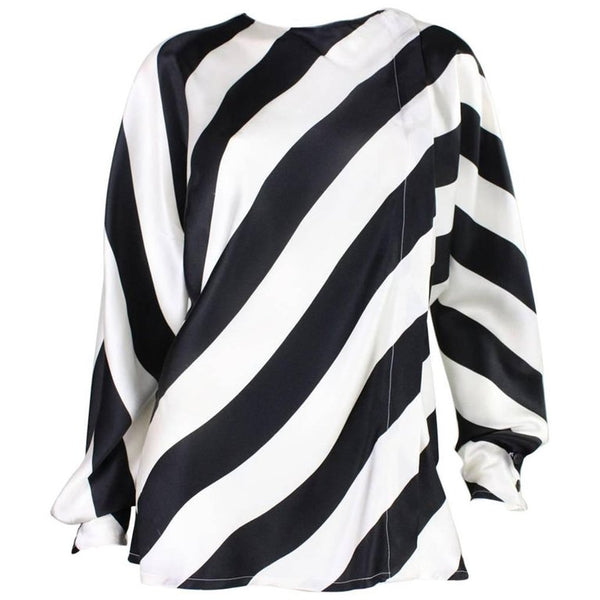 1980's Krizia Striped Silk Blouse