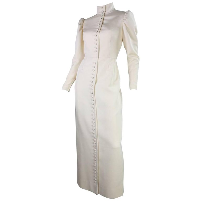 1970's Lanvin Gown with Button Front & Exaggerated Sleeves