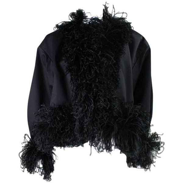 Yves Saint-Laurent Jacket 1980's with Ostrich Feather Trim Vintage - regenerationvintageclothing