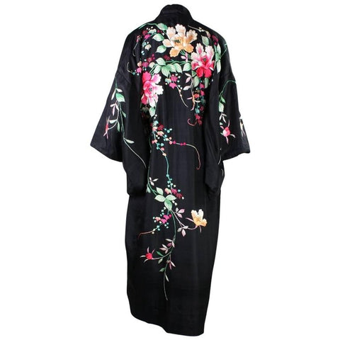 1920's Kimono Robe Black Silk with Embroidery Vintage - regenerationvintageclothing