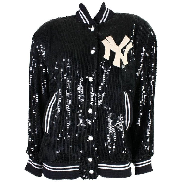 St. Martin Bomber Jacket 1980's Sequined Yankees Vintage - regenerationvintageclothing