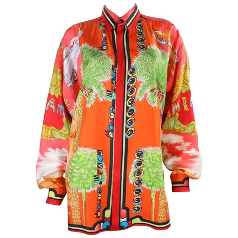 Versace Blouse 1990's Men's Silk with Miami Print Vintage - regenerationvintageclothing