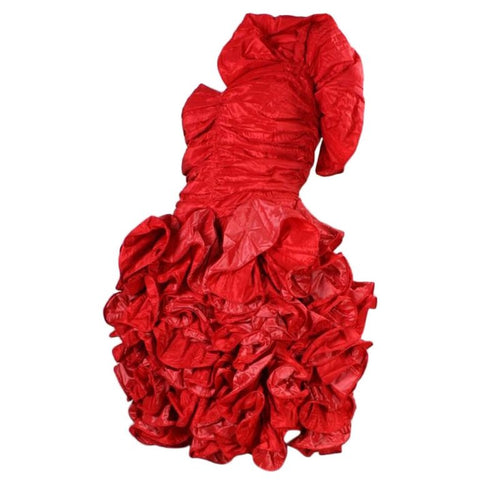 Christian Dior Dress 1980's Red Taffeta Ruffled Vintage - regenerationvintageclothing