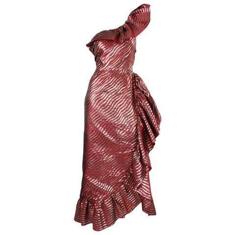 1980's Anonymous One-Shouldered Ruffled Red & Gold Gown