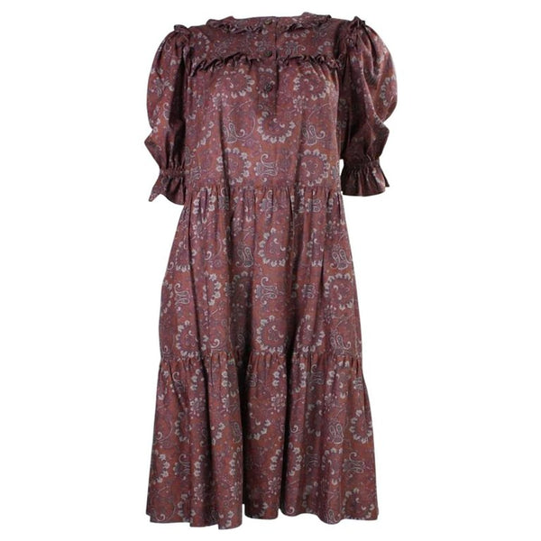 Yves Saint-Laurent Dress 1980's Cotton Paisley Peasant Vintage - regenerationvintageclothing
