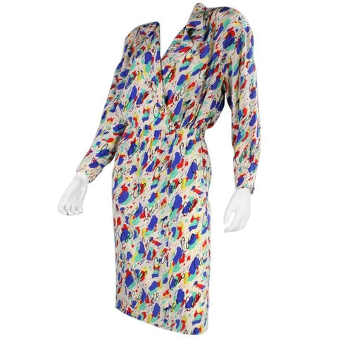 1980's Chanel Silk Dress with Painterly Coco Print