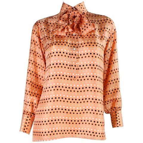 1970's Valentino Polka-dotted Silk Blouse with Sash