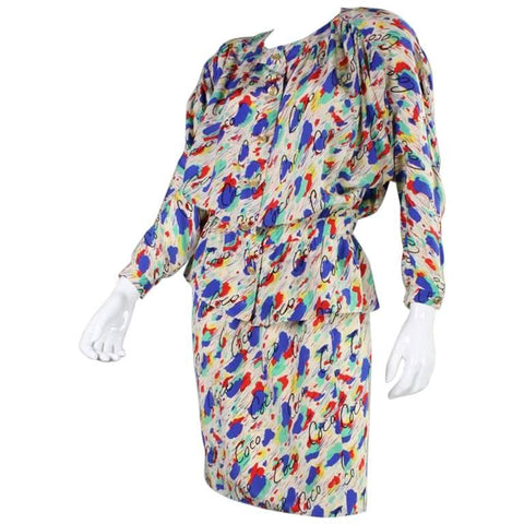 Chanel Ensemble 1980's Silk Vintage - regenerationvintageclothing