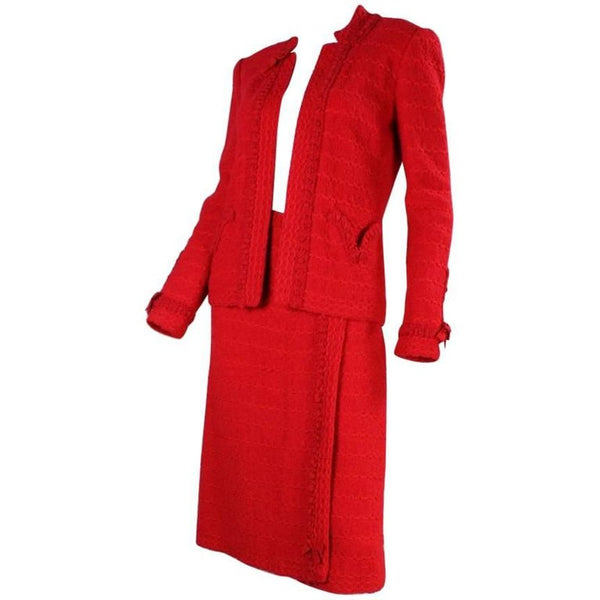 Adolfo Suit 1980's Red Bouclé with Silk Detailing Vintage - regenerationvintageclothing