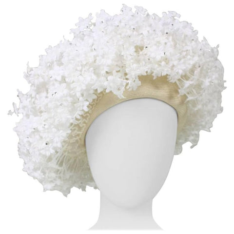 Jack McConnell Hat with Three Dimensional Flowers Vintage - regenerationvintageclothing