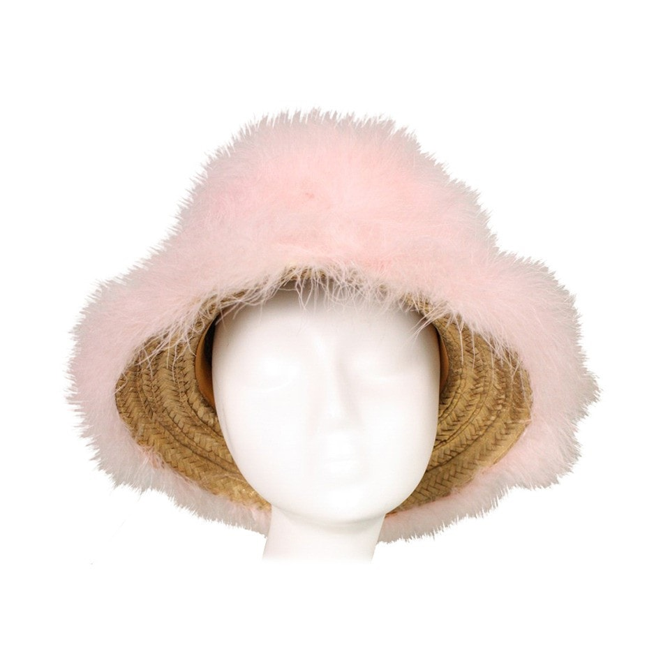 1960's Hat Happy Cappers Pink Marabou Feather Vintage - regenerationvintageclothing