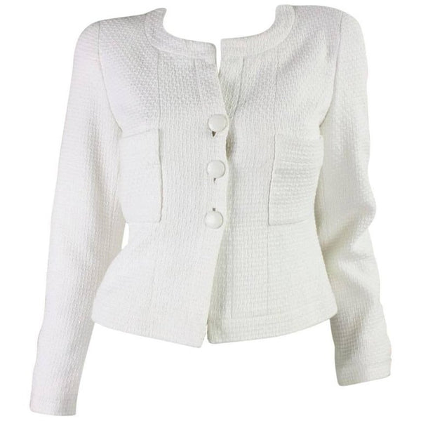 1990's Chanel Cropped White Textured Jacket