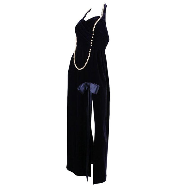 1990's Chanel Velvet Gown with Pearl Detailing