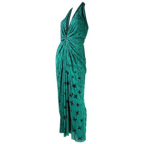 1990's Fabrice Emerald Green Beaded Halter Gown