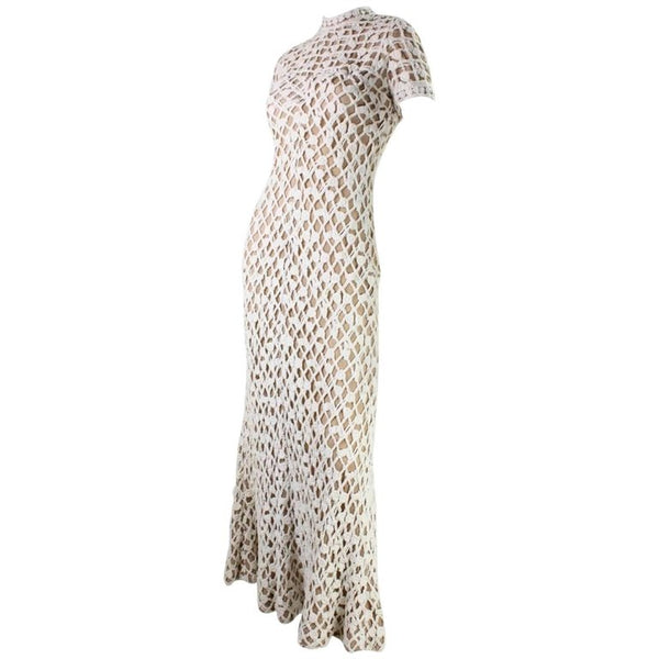 Werle of Beverly Hills Maxi Dress 1970's Crochet with Shawl Vintage - regenerationvintageclothing