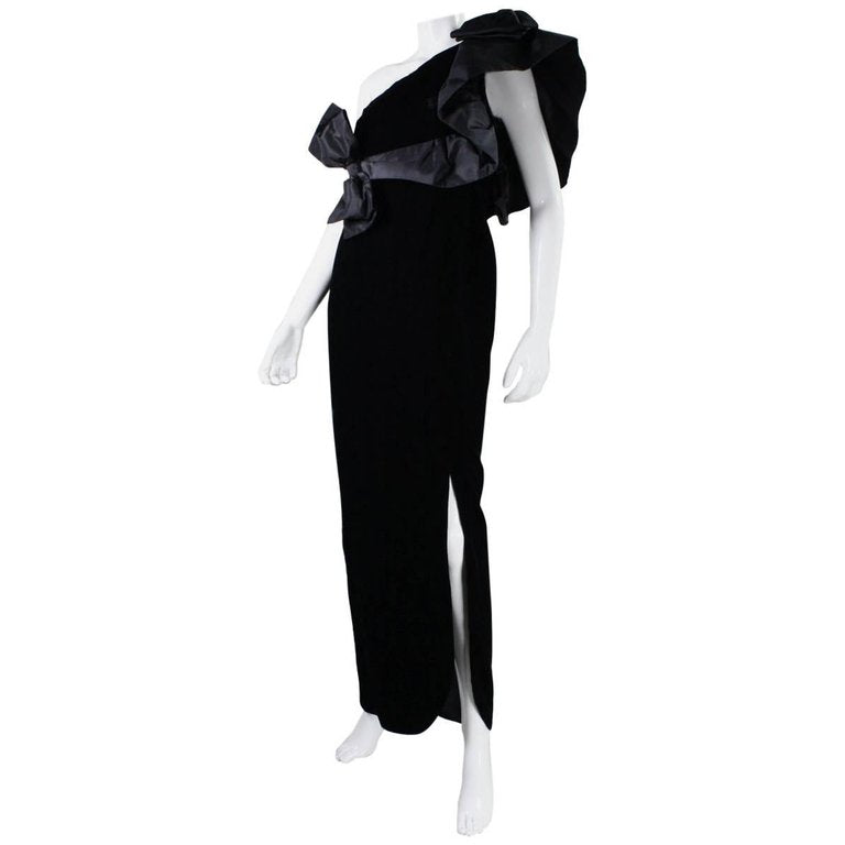 1980's Adolfo Asymmetrical Velvet Gown with Ruffled Shoulder