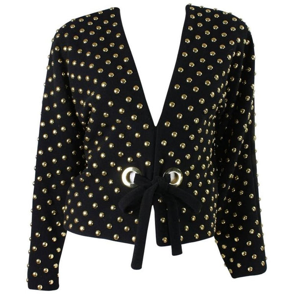 Anne Klein Jacket 1980's Gold Studded Wool Vintage - regenerationvintageclothing