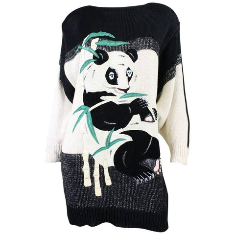 1980's Sweater Szato Appliqued Panda Vintage - regenerationvintageclothing