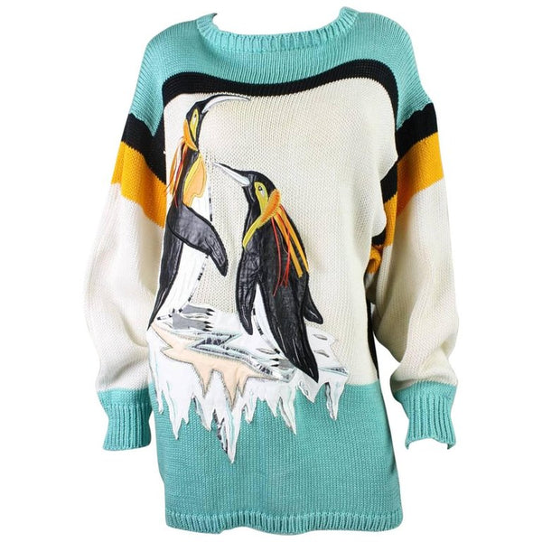 1980's Sweater Szato with Penguin Applique Vintage - regenerationvintageclothing