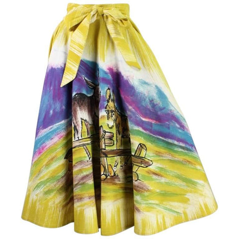1950's Circle Skirt Painted Mexican with Burro Motif Vintage - regenerationvintageclothing