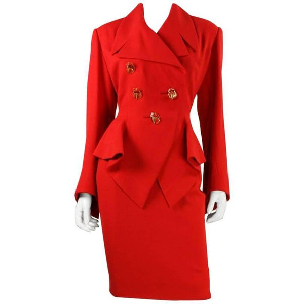 Vintage Gres Red Skirt Suit with Dramatic Detailing