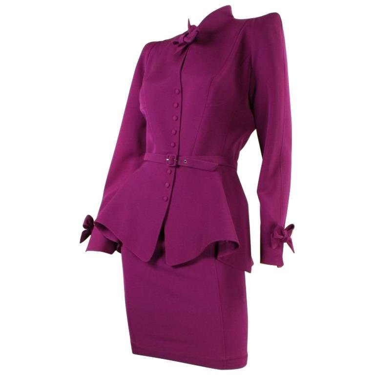 Thierry Mugler Skirt Suit 1990's Wool with Bow Detailing Vintage